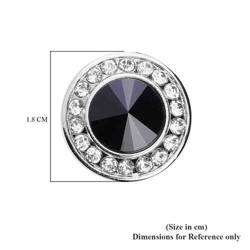 Simulated Black Spinel and White Austrian Crystal Cuff Button Cover in Silver Tone