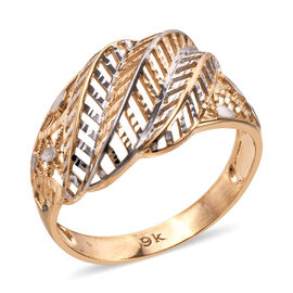 Epic Day Deal- Royal Bali Collection 9K Yellow and White Gold Diamond Cut Leaf Ring (Size M). Gold Wt 2.61 Gm