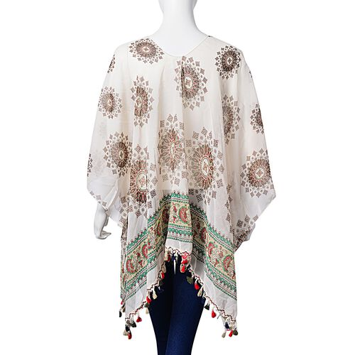 White, Red and Multi Colour Printed Poncho with Tassels (Free Size)