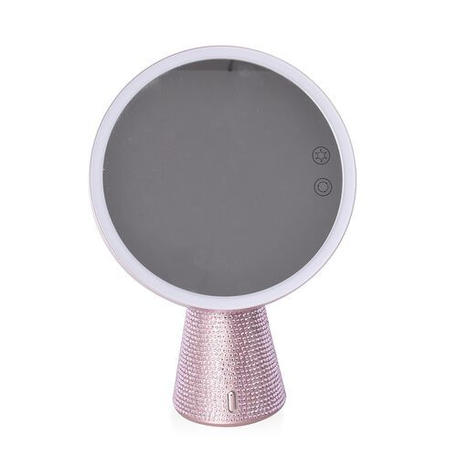 3-in-1 Lighted Makeup Mirror with Bluetooth Speaker, Removable Magnifying Mirror and Table Lamp in 3 Colour LED Lights - Rose Pink
