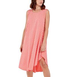 NOVA of London Polka Dot Asymmetric Hem Dress (Size up to 20) - Coral & White
