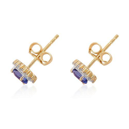 ILIANA 0.55 Ct AAA Tanzanite and Diamond (SI/G-H) Stud Halo Earrings in 18K Gold