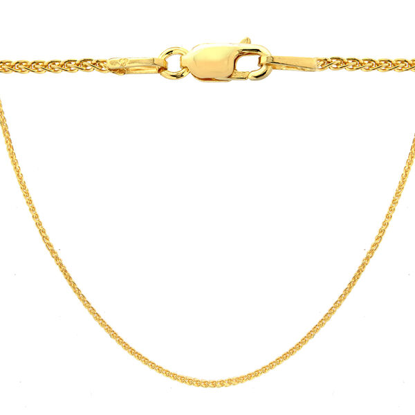 14K Gold Overlay Sterling Silver Spiga Chain (Size 20)
