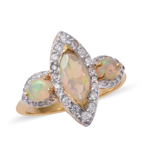 Ethiopian Welo Opal (Mrq and Ovl), Natural Cambodian White Zircon Ring in Rhodium and Yellow Gold Ov