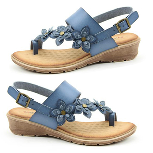 Heavenly Feet Faux Leather Floral Detailing Sandals with Buckle Closure - Blue