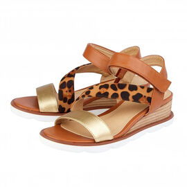 Lotus Tan and Leopard-Print Sophia Wedge Sandals