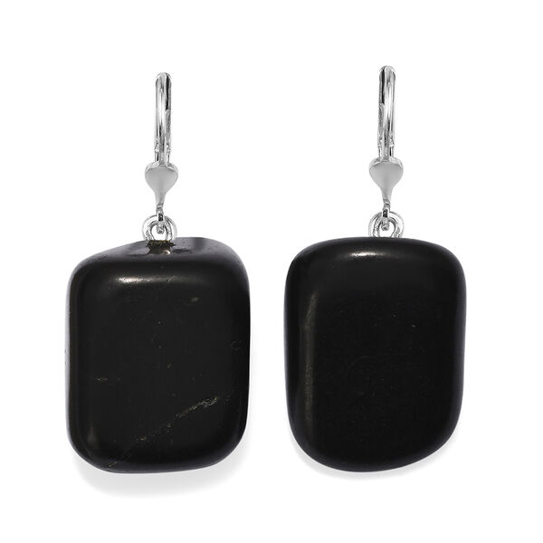 85 Ct Shungite Solitaire Drop Earrings in Sterling Silver