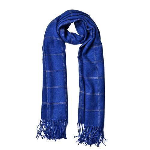 Blue Colour Chequer Pattern Scarf with Tassels (Size 190X87 Cm)