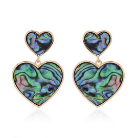 Abalone Shell (Hrt) Earrings (with Push Back) in Yellow Gold Tone