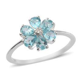 Blue Apatite and Natural Cambodian Zircon Flower Ring in Sterling Silver 1.01 Ct.