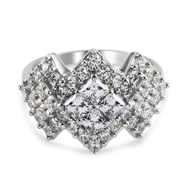 J Francis Platinum Overlay Sterling Silver Cluster Ring Made with SWAROVSKI ZIRCONIA 3.19 Ct.