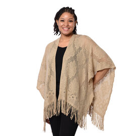 Spring Collection - Solid Brown Colour Hollow Out Kimono with Tassel (Free Size; Length 60Cm)