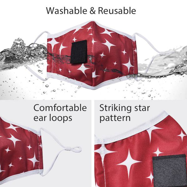 Reusable and Washable 2 Ply Face Cover with Straw Opening - Red