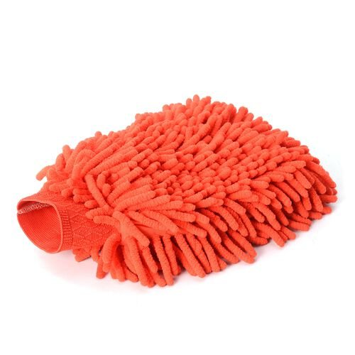4 piece Set of Car Accessories feature a Chenille Cleaning glove (Size 22x17), 2 pcs Cleaning Towel (Size 40x30 Cm) and a cell phone holder (20x11 Cm) for Car  Dash Board Orange Colour