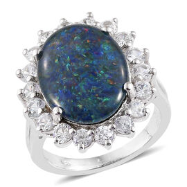 Limited Edition- Rare Size Australian Boulder Opal (Ovl), with Natural  Cambodian Zircon Dual Halo Ring in Platinum Overlay Sterling Silver