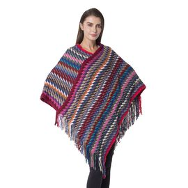 Designer Inspired- Rose and Multi Colour Stripe Pattern Poncho with Tassels (Size 90x60 Cm)