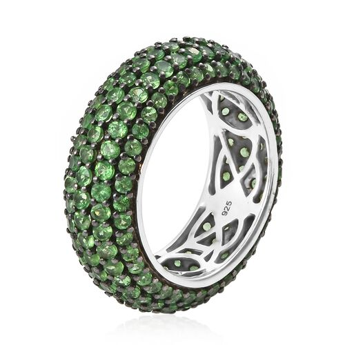 Exclusive Edition- Very Rare Natural Tsavorite Garnet (Rnd) Full Eternity Ring in Black Rhodium and Platinum Overlay Sterling Silver 6.750 Ct. Silver wt 6.05 Gms. Number of Gemstone 180