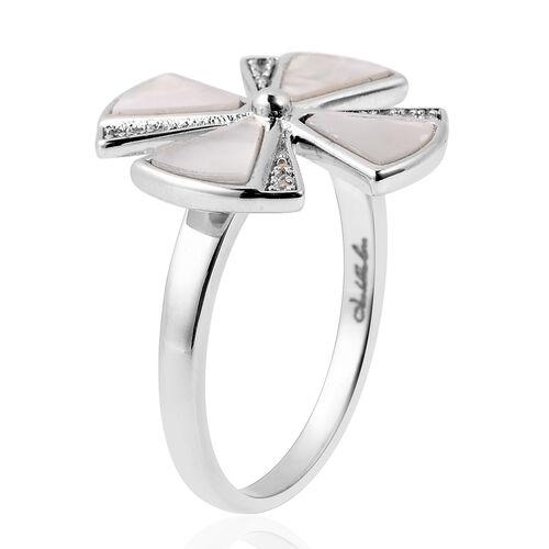 Isabella Liu Ginkgo Collection - White Mother of Pearl and Natural Cambodian Zircon Ring in Rhodium Overlay Sterling Silver