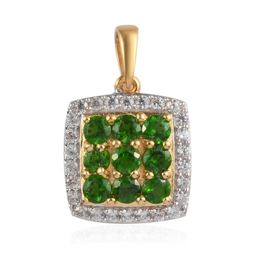 Russian Diopside and Natural Cambodian Zircon Cluster Pendant in 14K Gold Overlay Sterling Silver 1.