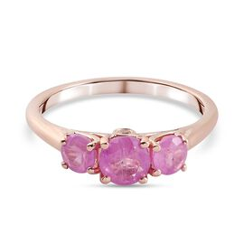 Pink Sapphire and Natural Cambodian Zircon Ring in Rose Gold Sterling Silver 1.57 Ct.