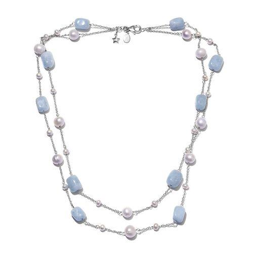 GP Espirito Santo Aquamarine (41.40 Ct.), Freshwater Pearl and Blue Sapphire Necklace (Size 18) in P