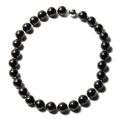 Tahitian Colour Shell Pearl Beaded Necklace with Magnetic Lock in Rhodium Plated Silver 20 Inch