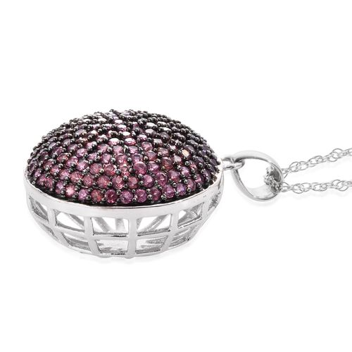 Red Carpet Collection-Rhodolite Garnet (Rnd) Cluster Pendant with Chain in Black Rhodium and Platinum Overlay Sterling Silver 3.500 Ct.Gemstone Studded 166 Pcs. Silver wt 6.54 Gms.