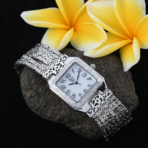 Premium Collection- Royal Bali Collection- EON 1962 Swiss Movement 3ATM Water Resistant Watch (Size 7) with Sapphire Glass in Rhodium Plated Sterling Silver, Silver wt. 61.00 Gms