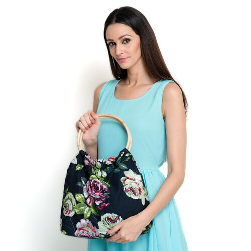 Sicily Floral and Leaves Pattern Black Colour Handbag with Sequins (Size 38x30x9 Cm)
