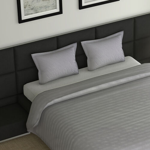 7 Piece Set -  Bedding Set including 1 Duvet with Duvet Cover (200x200cm), 2 Pillows with Pillow Covers (50x75cm), 1 Fitted Bedsheet (140x190+30cm) - Grey- Double