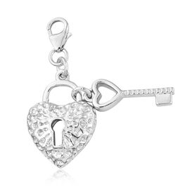 Heart Lock with Key Charm in Platinum Plated 925 Sterling Silver 4.06 grams