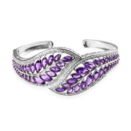 Zambian Amethyst (Mrq), Natural Cambodian Zircon Leaf Cuff Bangle (Size 7.5) in Platinum Overlay Ste