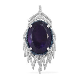 12 Carat Amethyst, Blue and White Diamond Pendant in Platinum Plated Sterling Silver 5.91 Grams