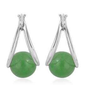 Super Auction - Green Jade (Rnd 10 mm) Hoop Earrings (with Clasp) in Rhodium Plated Sterling Silver 17.000 Ct.