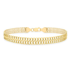 Double Curb 7.5 Inch Chain Bracelet in 9K Yellow Gold