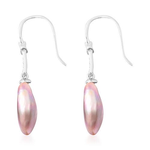 Baroque Pearl Hook Earrings in Rhodium Overlay Sterling Silver