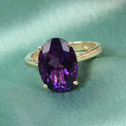 9K Yellow Gold AA Moroccan Amethyst Solitaire Ring 5.37 Ct.