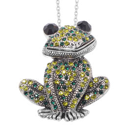 Safari Collection - Multi Colour Austrian Crystal Frog Brooch or Pendant With Chain (Size 24) in Sta