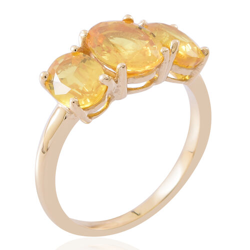 Sapphire Day Special Deal-9K Yellow Gold AA Rare Size Chanthaburi Yellow Sapphire (Ovl) 3 Stone Ring 3.500 Ct.