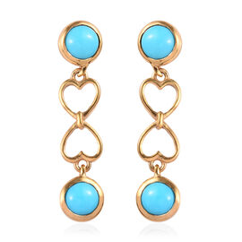 2.38 Ct Arizona Sleeping Beauty Turquoise Dangle Earrings in Gold Plated Sterling Silver