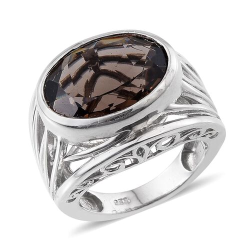 Brazilian Smoky Quartz (Ovl) Solitaire Ring in Platinum Overlay Sterling Silver 7.250 Ct. Silver wt 7.80 Gms.