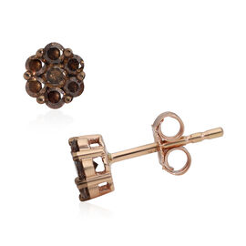 9K Rose Gold SGL Certified Champagne Diamond (I3) Stud Earrings (wth Push Back) 0.50 Ct.