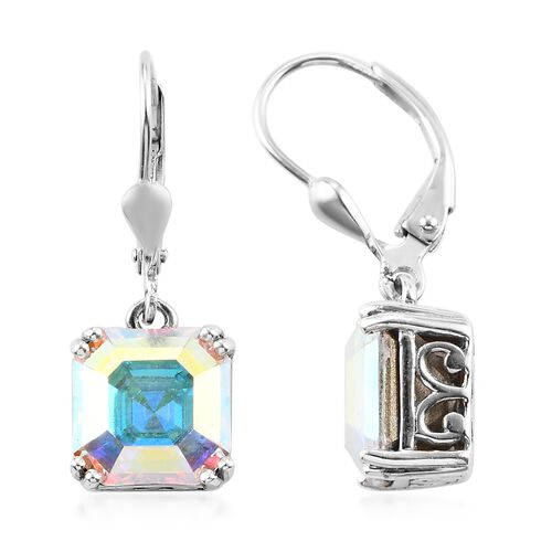 J Francis Crystal from Swarovski AB Crystal Lever Back Earrings in Platinum Overlay Sterling Silver