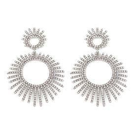 Designer Inspired White Austrian Crystal (Rnd) Earrings in Silver Plated