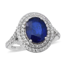 Blue Spinel and Cambodian Zircon Ring in Rhodium Overlay Sterling Silver 4.10 Ct.