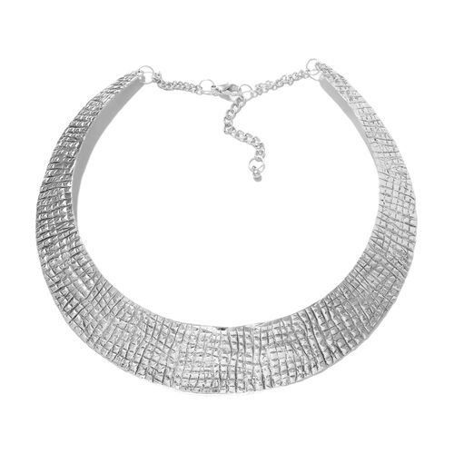 One Time Deal-Choker Necklace (Size 43+5 Cm) in Silver Plating