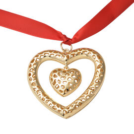 RACHEL GALLEY Lattice Heart Charm with Ribbon in Yellow Gold Tone