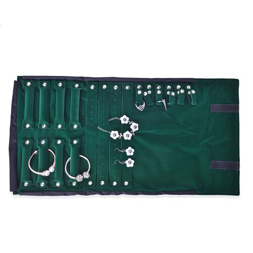 Black and Green Colour Velvet Necklace, Bracelet, Ring and Earrings Holders with Button Closure (Size 55x30 Cm)