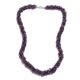 Amethyst Necklace (Size 20) in Platinum Overlay Sterling Silver 284.00 Ct.