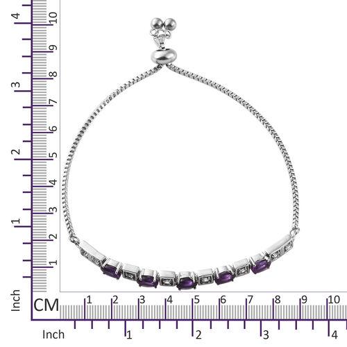 Amethyst (Ovl), White Topaz Adjustable Bracelet (Size 6.5 - 9.5) in Stainless Steel 2.500 Ct.